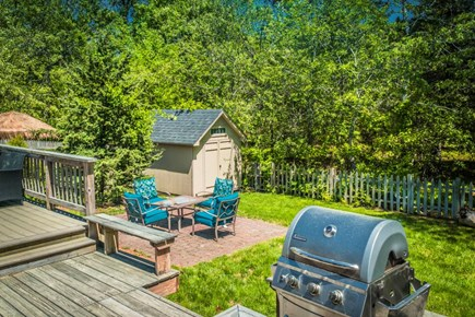 West Dennis Cape Cod vacation rental - Patio with Fire Pit Furniture & Gas BBQ Grill