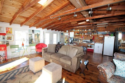 Wellfleet Cape Cod vacation rental - Vaulted ceiling, skylights and hardwood floors in main area