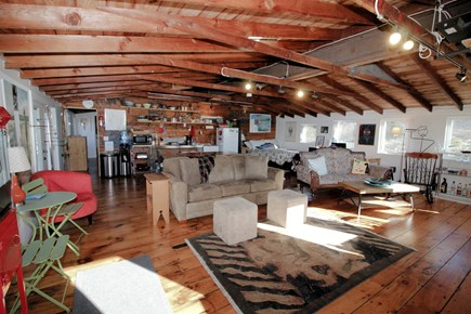 Wellfleet Cape Cod vacation rental - Comfortable living room with kitchen area beyond