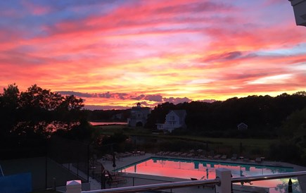 East Falmouth Cape Cod vacation rental - Dine on the Clubhouse Deck with Gorgeous Western Sunsets
