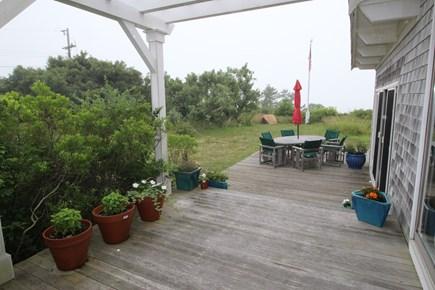Truro Cape Cod vacation rental - Deck outside kitchen looking toward Bay