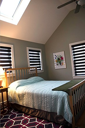 Provincetown Cape Cod vacation rental - Bedroom 1 with queen bed, cathedral ceiling and paddle fan