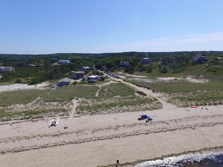 Truro Cape Cod vacation rental - Aerial photo of the cottage and beach in August