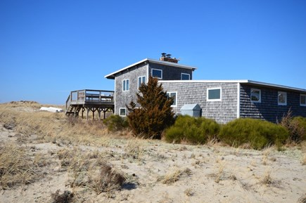 Truro Cape Cod vacation rental - The back deck stairs go directly down to the beach path