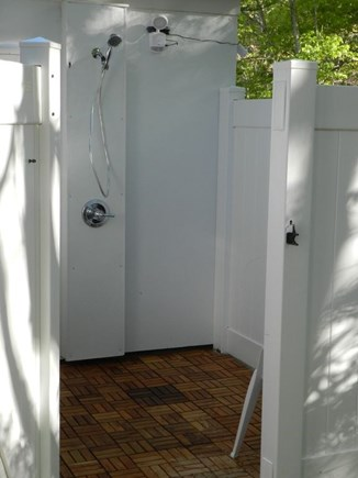 North Eastham Cape Cod vacation rental - Roomy 6X6 outdoor shower with teak tile floor.
