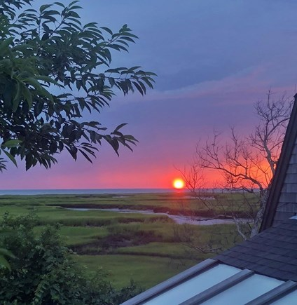 Eastham, Aerie, a 2nd story suite Cape Cod vacation rental - Another great sunset viewed from the suite deck
