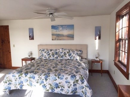 Eastham, Aerie, a 2nd story suite Cape Cod vacation rental - King bed with nice headboard , ceiling fan
