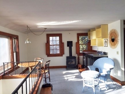 Eastham, Aerie, a 2nd story suite Cape Cod vacation rental - Dining table with views of the bay