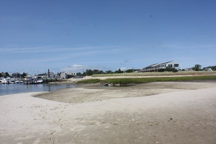 Chatham; Oceanfront Condos Cape Cod vacation rental - Private beach looking toward marina.