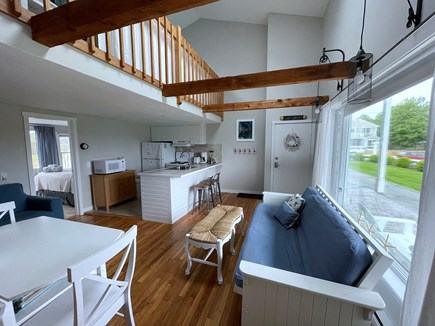 Chatham; Oceanfront Condos Cape Cod vacation rental - Bright and open living area w kitchen & dining area.
