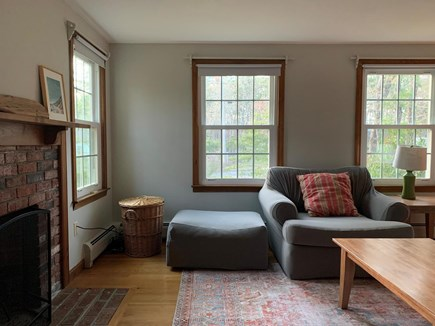 Eastham Cape Cod vacation rental - Cozy living Room has working fireplace for our winter guests