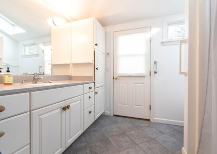 Orleans Cape Cod vacation rental - Master bath w/ walk-in shower - door goes to outdoor shower deck