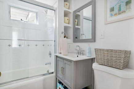 West Dennis Cape Cod vacation rental - 1st Floor: Full bath with glass shower door