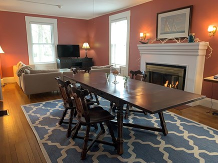 Falmouth Cape Cod vacation rental - The warm living & dining room, with gas fireplace