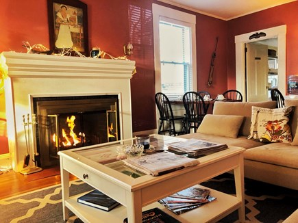 Falmouth Cape Cod vacation rental - The living room invites you to snuggle up close to the fire place