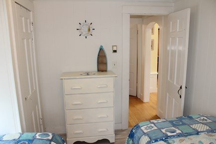 Dennis Port Cape Cod vacation rental - Bedroom with two twin beds and dresser.