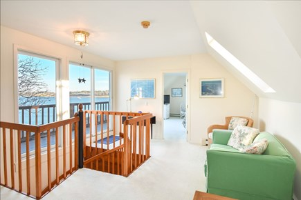 East Harwich Cape Cod vacation rental - Upstairs sitting area with access to deck and a breathtaking view