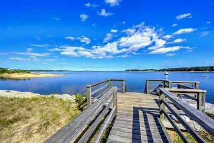 East Harwich Cape Cod vacation rental - Water access deck with stairs leading to Pleasant Bay