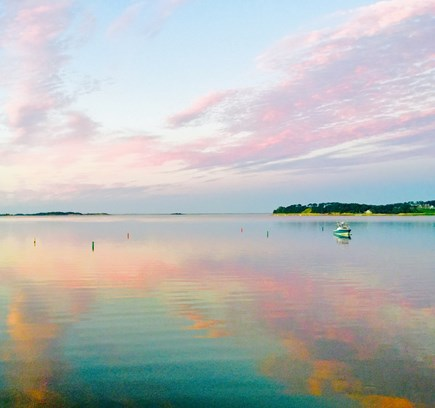 East Harwich Cape Cod vacation rental - View from the deck of an early  morning sunrise over Pleasant Bay