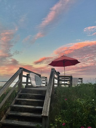 East Harwich Cape Cod vacation rental - Stairway to the water during a beautiful sunrise