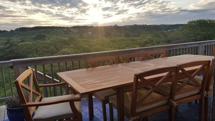Truro Cape Cod vacation rental - Large back deck with stunning sunrises over dunes of High Head.