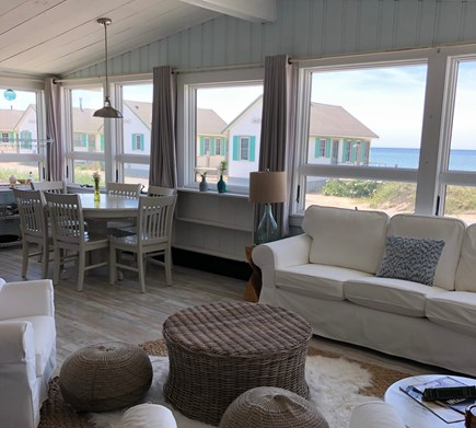 Truro Cape Cod vacation rental - View to the bay and Day's Cottages from the main living space.