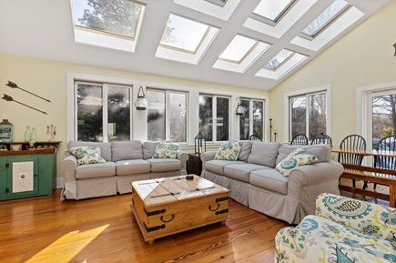 Chatham Cape Cod vacation rental - Living room (TV, awesome skylights let in a ton of light)
