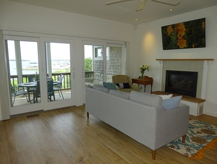 Wellfleet Cape Cod vacation rental - Living room opens to porch with Wellfleet Harbor views