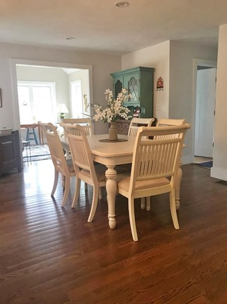 Plymouth MA vacation rental - Dining table sets 6, leaf can be added