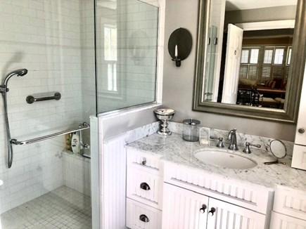Orleans Cape Cod vacation rental - Downstairs stairs master bath w/shower (suite w/king bed)