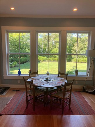 Woods Hole Cape Cod vacation rental - Breakfast table looking out over the back yard