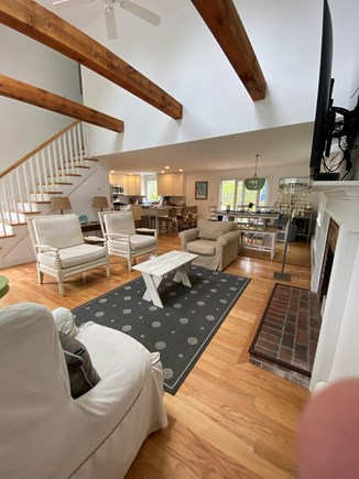 Harwich Cape Cod vacation rental - A Spacious and open living room, with beamed ceiling and skylight