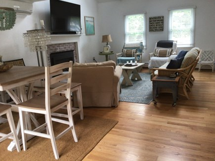"""Harwich Cape Cod vacation rental - Living room has gas fireplace and 54"""" smart tv"""