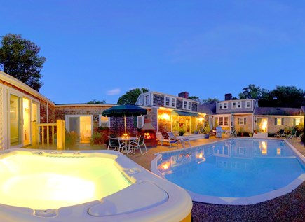 Barnstable Cape Cod vacation rental - Soar heated, salt water pool, hot tub and outdoor fireplace.