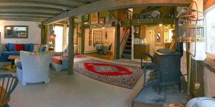 Barnstable Cape Cod vacation rental - Gas fireplace stove, full kitchen, private deck, BBQ