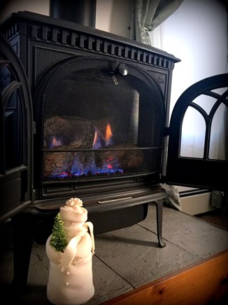 Barnstable Cape Cod vacation rental - Cozy gas fireplace stove, baseboard heat or air conditioning!