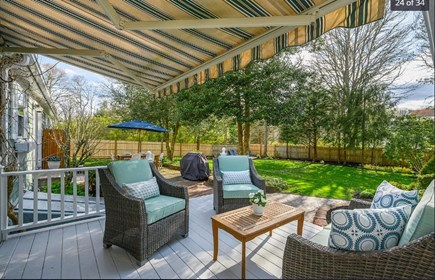 Centerville Cape Cod vacation rental - Sunny back deck (awning folds out at the push of a button).