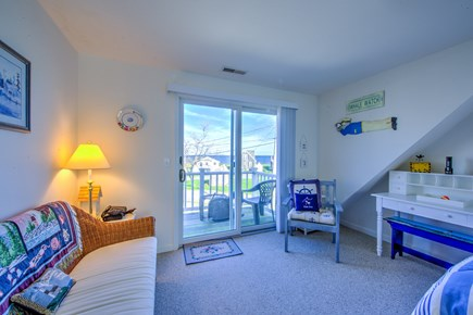 Sandwich Cape Cod vacation rental - Slider to upper deck in Bedroom with 2 Twins.