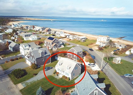 Sandwich Cape Cod vacation rental - Aerial view of house and beach