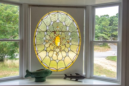 Truro Cape Cod vacation rental - Bay window w/stained glass window.
