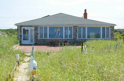 Sandwich, Sagamore Beach Cape Cod vacation rental - View from the ocean side, with patio & outdoor seating.