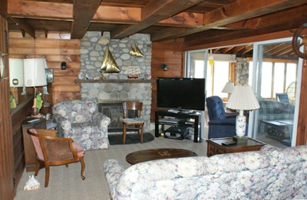Sandwich, Sagamore Beach Cape Cod vacation rental - Living Room opens to porch.