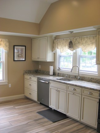 Bourne, Gray Gables Cape Cod vacation rental - New Cathedral-ceilinged kitchen with granite, SS appliances