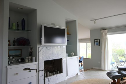 Truro Cape Cod vacation rental - Living room with sliders to one of the decks