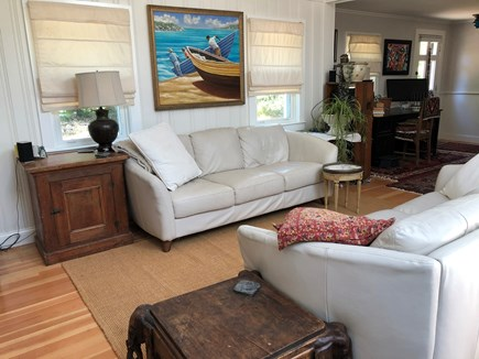Eastham Cape Cod vacation rental - open living area with comfy couches, cathedral ceilings