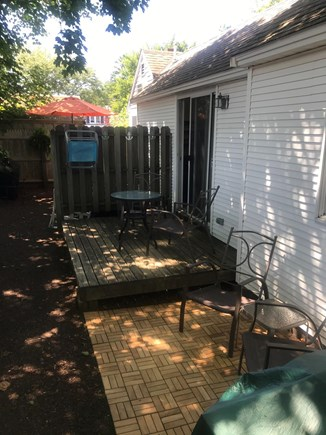 Harwich Port Cape Cod vacation rental - Privacy on deck and beach chairs, hooks for beach towels.