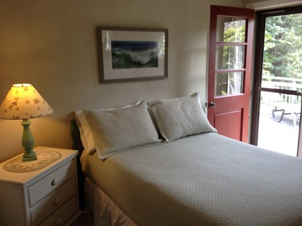 East Orleans Cape Cod vacation rental - Bedroom with full bed and door access to back deck