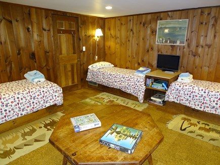 Wellfleet Cape Cod vacation rental - Three twins on lower level – large bedroom, with games included