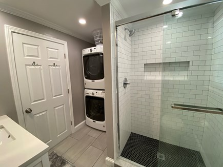 Brewster Cape Cod vacation rental - New bathroom with tile shower and washer/dryer