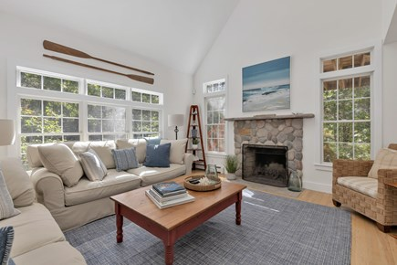 Truro Cape Cod vacation rental - Living Room with beamed cathedral ceiling
